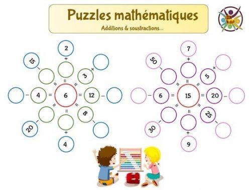 Jeu éducatif enfant de mathématiques: additions et soustractions