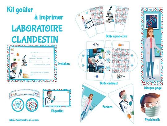 Kit de décoration à imprimer pour anniversaire enfant thème laboratoire