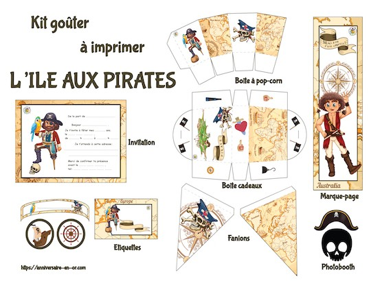 Kit de décoration à imprimer pour anniversaire pirate