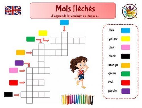 Mots fléchés pour apprendre les couleurs en anglais: jeu éducatif enfant
