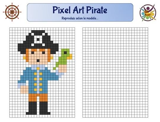 Pixel art de pirate à imprimer pour enfant