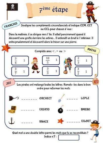 Cahier de jeux de vacances à imprimer thème pirate CM1 CM2