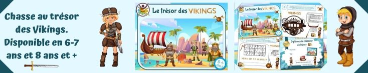 Jeu de chasse au trésor enfant pour anniversaire Viking