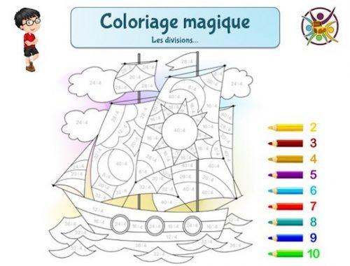 Coloriage magique des divisions: jeu éducatif enfant à imprimer