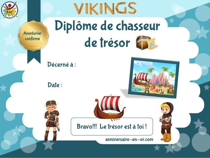 Diplôme à imprimer de chasse au trésor pour anniversaire Viking