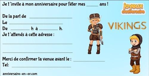 invitation anniversaire thème Viking