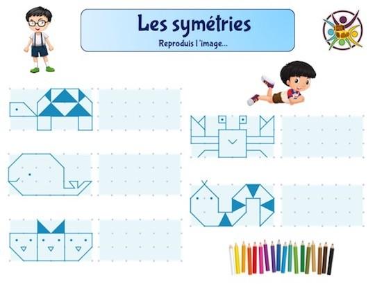 Jeu éducatif enfant sur la symétrie