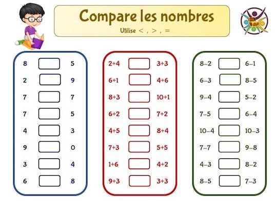 jeu éducatif mathématiques comparaison des nombres