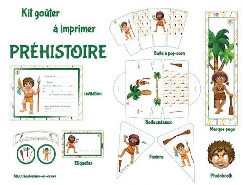 Kit de décoration pour fête anniversaire enfant à imprimer thème préhistoire