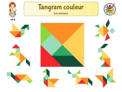 Tangram couleur des animaux à imprimer