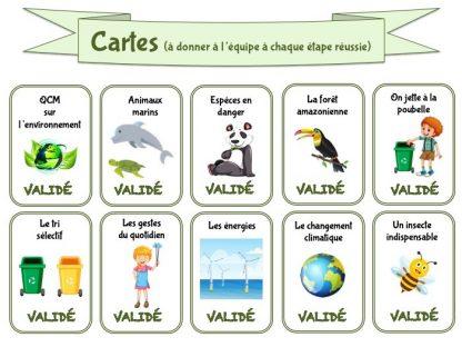 Cartes pour jeu sur l'écologie et l'environnement pour enfant