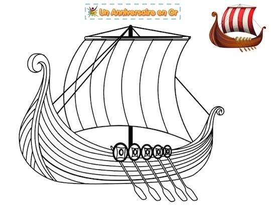 Coloriage de bateau viking : le drakkar