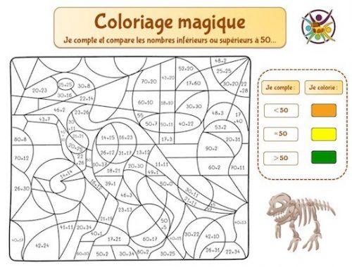 Coloriage magique à imprimer sur la comparaison