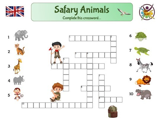 jeu éducatif: mots-croisés des animaux pour apprendre l'anglais