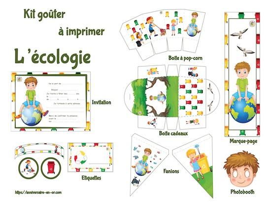 Kit de décoration anniversaire enfant à imprimer sur l'écologie