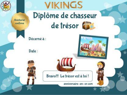 Diplôme de Viking pour anniversaire enfant