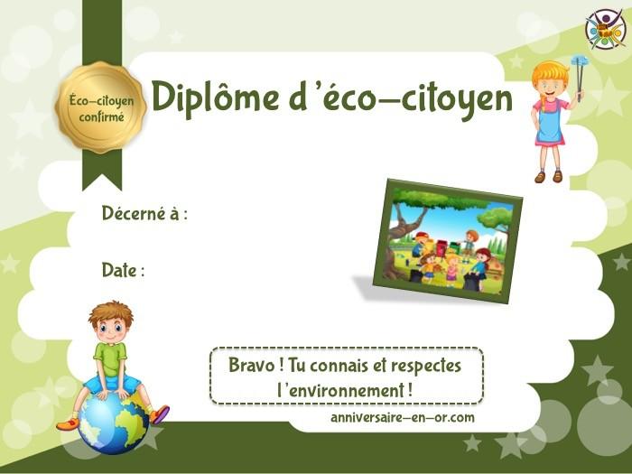 Diplôme d'éco-citoyen à imprimer pour activité thème écologie