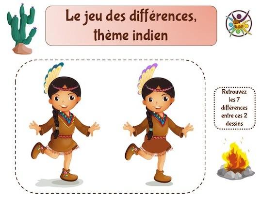 Le jeu des 7 différences sur le thème des indiens à imprimer
