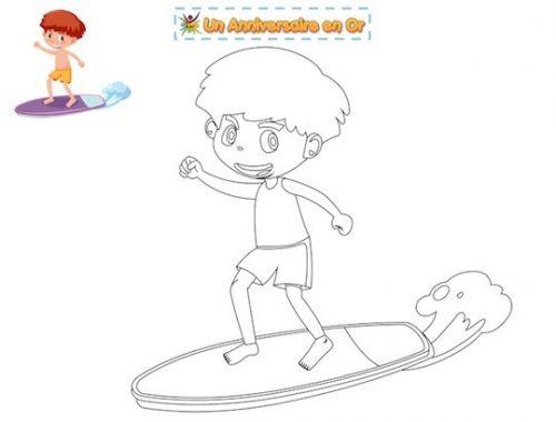 coloriage pour enfant thème plage à imprimer