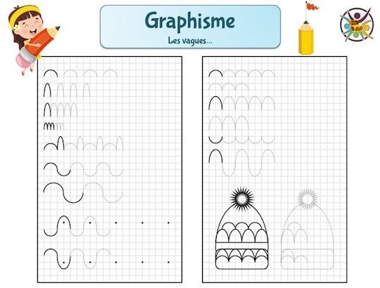 fiche de graphisme pour enfant de maternelle : les vagues