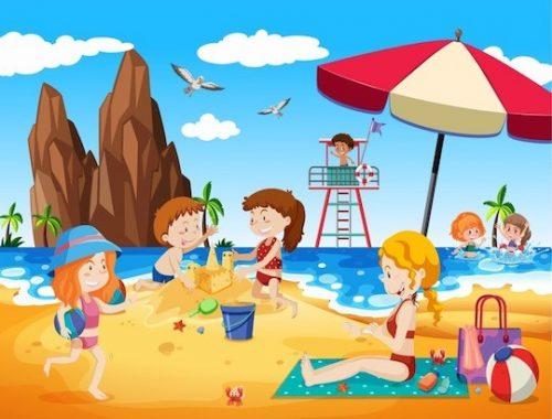 Jeu d'enquête pour enfant à la plage