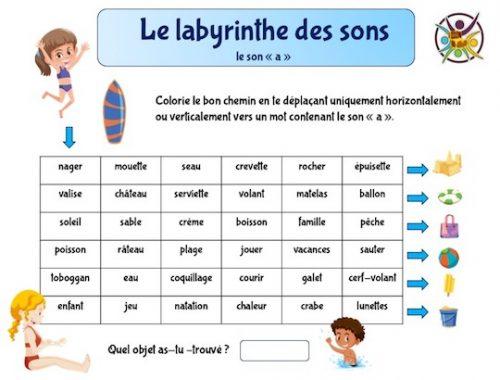 labyrinthe éducatif pour reconnaitre le son et la lettre a