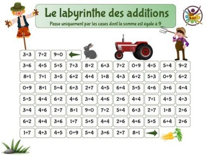 le labyrinthe des additions : fiche mathématiques