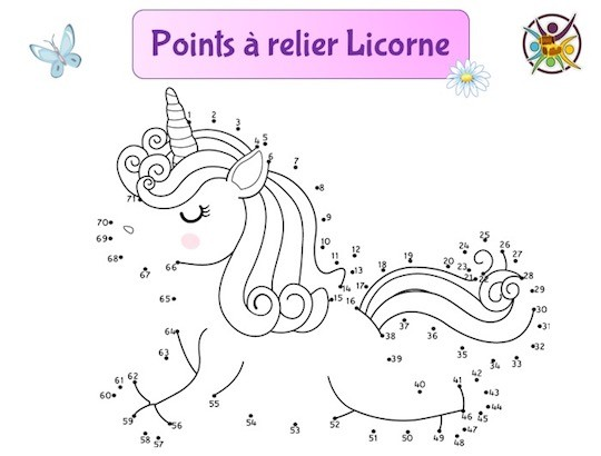 points à relier licorne