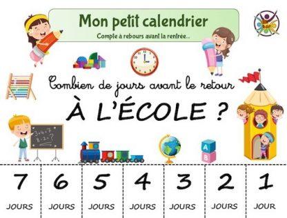 calendrier compte à rebours pour la rentrée scolaire