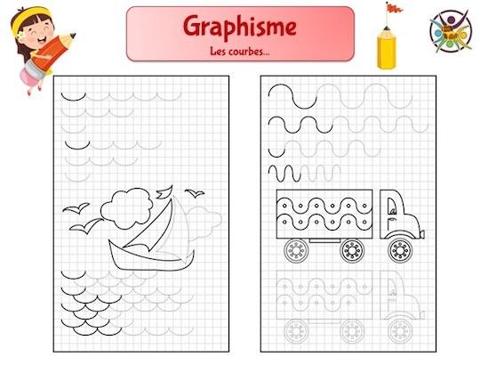 Graphisme enfant maternelle : les courbes