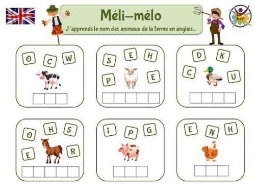 Jeu éducatif pour apprendre le nom des animaux de la ferme en anglais