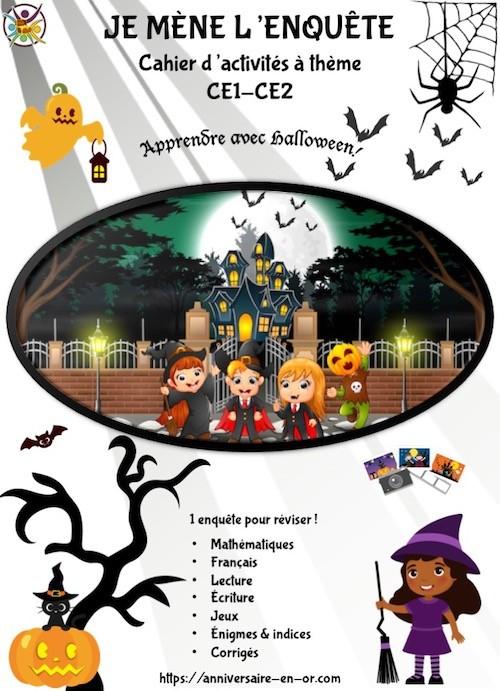 Cahier jeu pour Halloween pour enfants de CE1 et CE2