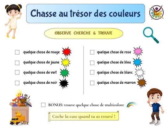 Organisez une chasse aux couleurs: une chasse au trésor adaptée aux jeunes enfants