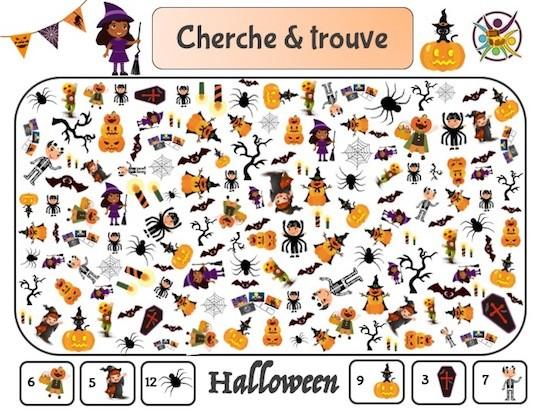 Jeu de cherche et trouve: activité à imprimer pour Halloween