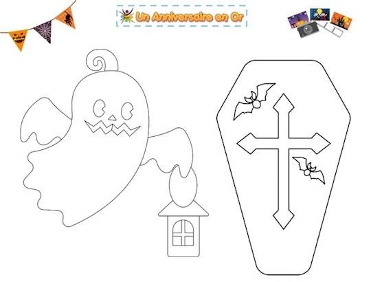 Coloriage Halloween à imprimer: fantôme et cercueil