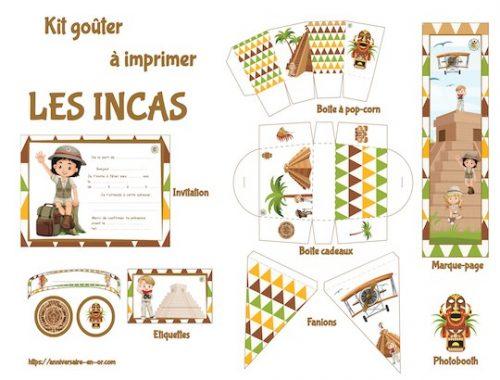 Décoration à imprimer pour organiser un anniversaire sur le thème des incas