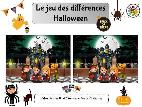 Jeu des différences à imprimer sur le thème d'Halloween
