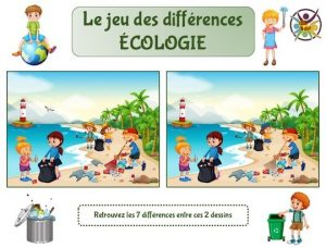 Jeu des différences à imprimer sur le thème de l'écologie