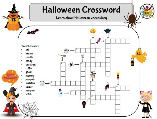 Mots croisés pour apprendre le vocabulaire d'Halloween en anglais