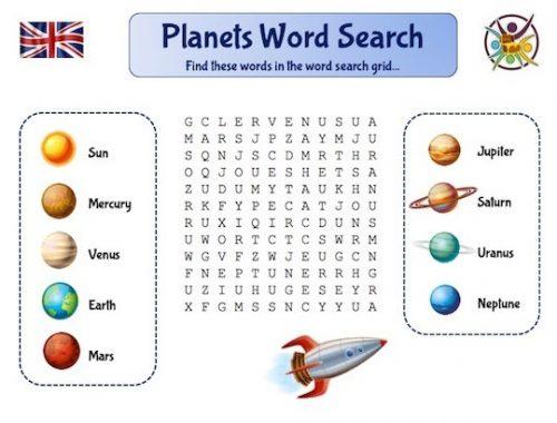 Mots-mêlés pour apprendre l'anglais sur le thème des planètes