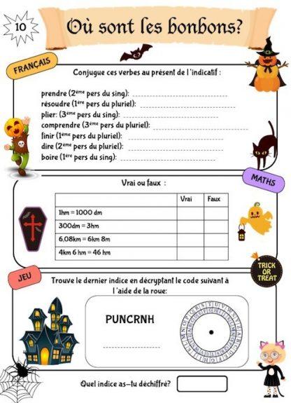 Cahier de jeux et de révision scolaire sur l'automne, spécial Halloween