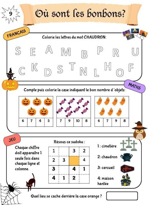 Cahier d'activités maternelle pour Halloween
