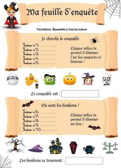 feuille d'enquête du cahier de jeux Halloween