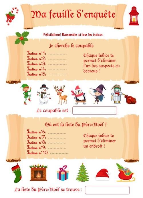 Feuille d'enquête du cahier de jeu de Noël