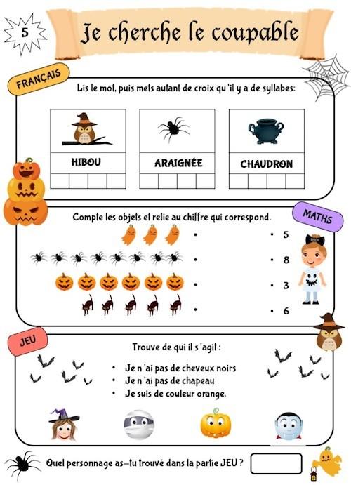 Cahier d'activités Halloween à imprimer