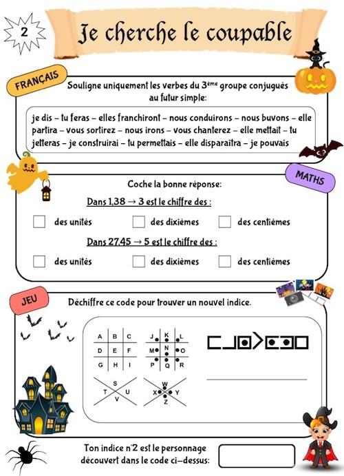Cahier de jeux sur l'automne CM1-CM2, Halloween