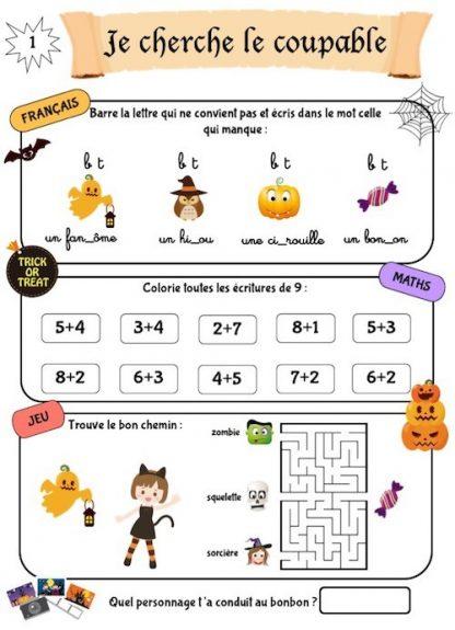 Cahier de révision, thème Halloween, pour les vacances de la Toussaint