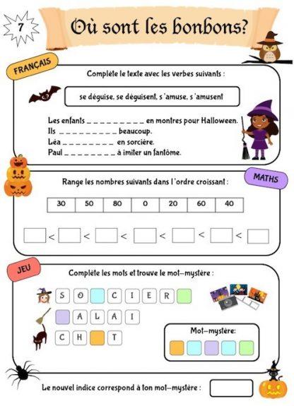 Cahier de jeux et d'activités pour les vacances thème Halloween