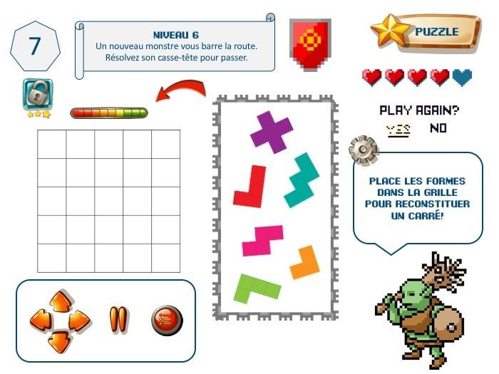 Casse-tête d'escape game enfant, thème jeu vidéo