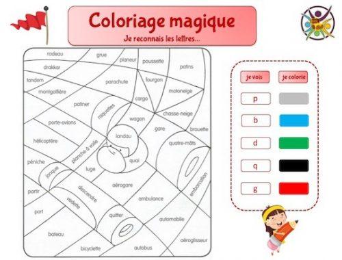 Coloriage magique maternelle: je reconnais les lettres
